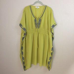 Umgee Mustard Embroidered Bat-Wing tunic dress L
